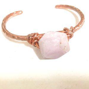 Pink Kunzite Copper Bangle Cuff Bracelet Wire Wrap